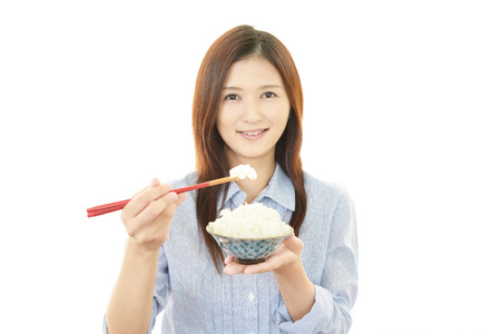 Women who eating rice photo