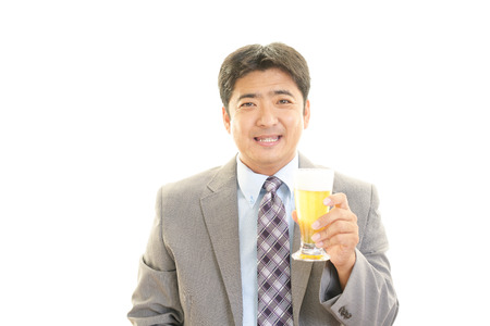 Man holding a beer photo