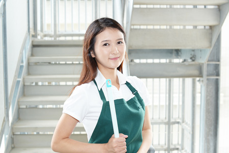 health service: A female Janitorial cleaning service Stock Photo