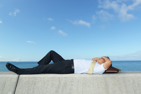 tired businessman: The tired businessman Stock Photo