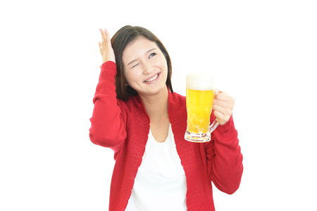 heartbreak issues: Woman who drank too much beer Stock Photo