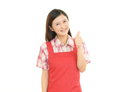 bright housekeeping: Smiling housewife