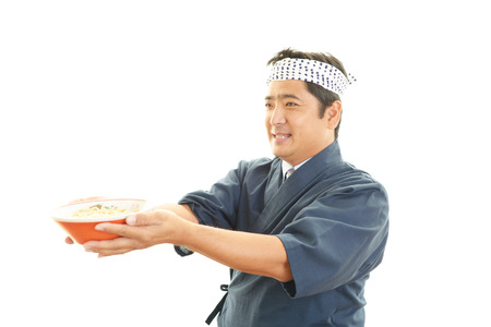 asian chef: Asian chef with noodle Stock Photo