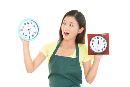 no time: Portrait of young Asian woman who has no time Stock Photo