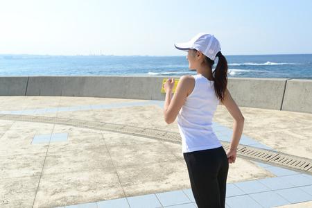 Beautiful woman to the jogging photo