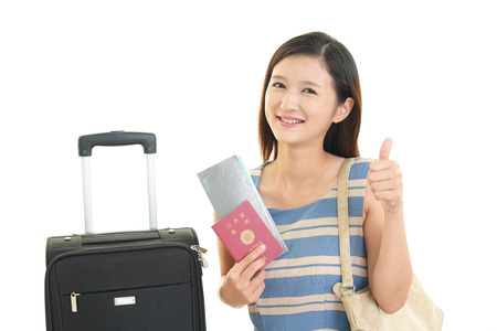 sureness: woman who enjoy the trip. Stock Photo