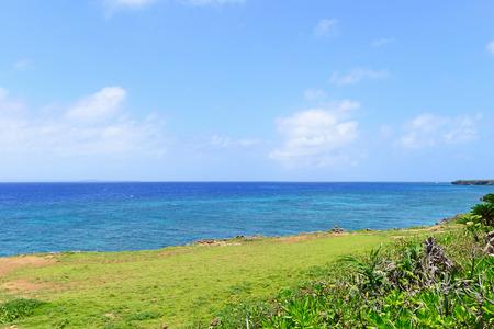 The cobalt blue sea and blue sky