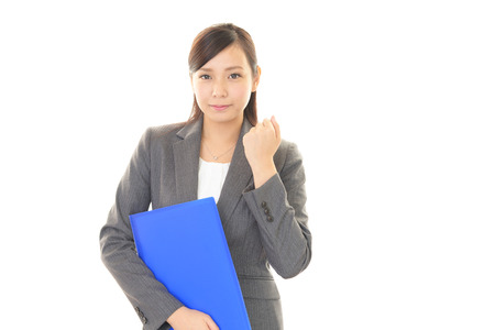 working woman: The woman enjoys working