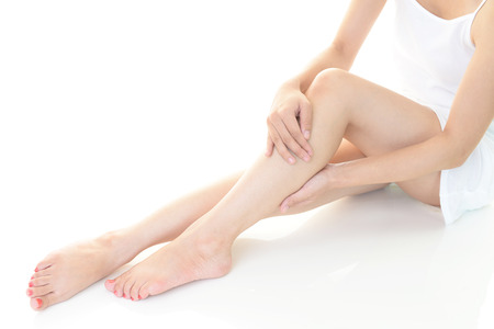 slim woman: Woman who takes care of her legs Stock Photo