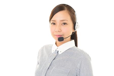 call center representative: Smiling call center operator