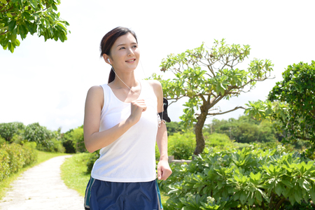 japanese people: Woman who exercises at the park