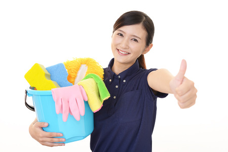 A female Janitorial cleaning service 免版税图像