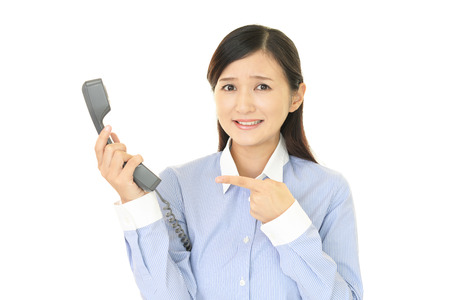 woman on phone: Woman with a phone