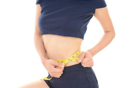 slim women: Woman who is measuring her waist