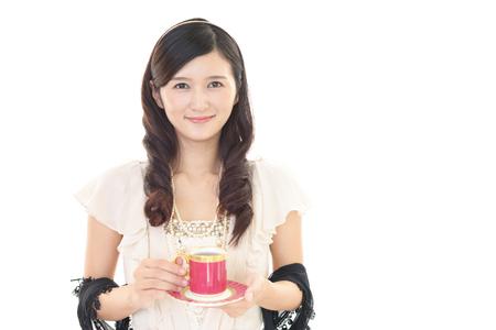 aroma facial: Woman who enjoys the coffee break