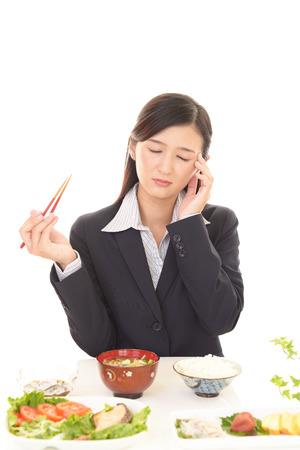 Woman has no appetite Stock Photo