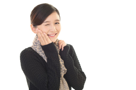 bother: Woman who is worried about the tooth decay