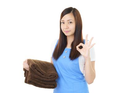 woman in bath: Woman with bath towels