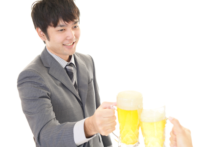 alcohol drinks: Man drinking beer Stock Photo