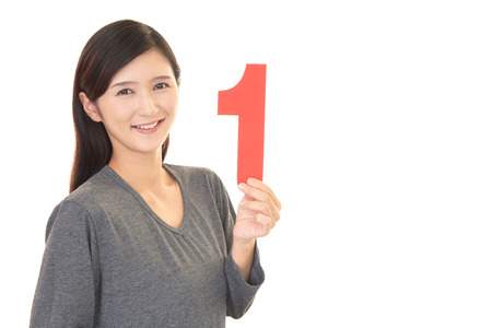 one female: Woman with a number Stock Photo