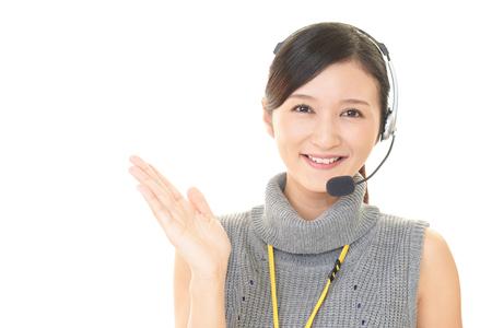 Lächelnd Call Center-Betreiber Standard-Bild