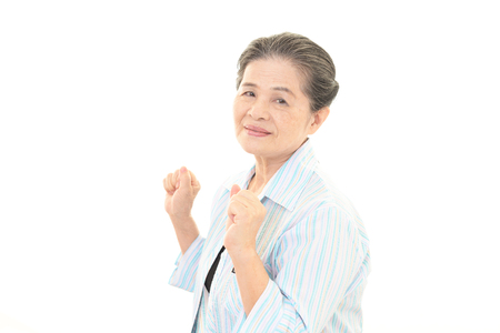 happy asian people: Smiling old woman