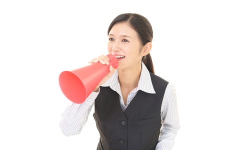banging: A woman with a megaphone Stock Photo