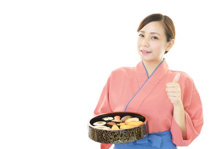 food shop: A Japanese restaurant waitress