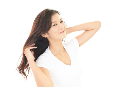 Woman taking care of her hair