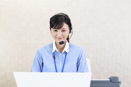 smile face: Smiling call center operator