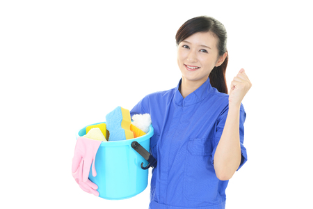 cleaning service: A female Janitorial cleaning service Stock Photo