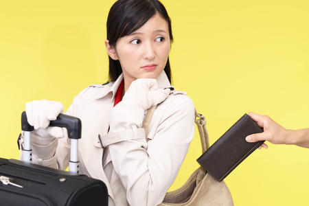 Woman to be stolen wallet Stock Photo
