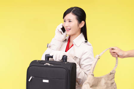 snatch: Woman to be stolen bag Stock Photo