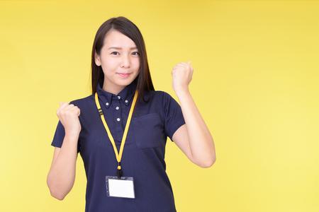 jeune fille: Sourire travailleur féminin Banque d'images