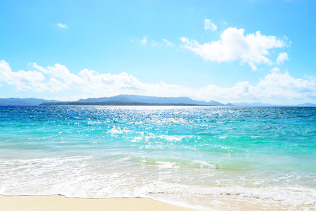 Summer sky and beautiful beach of Okinawa Banco de Imagens