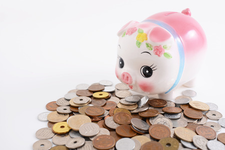 repayment: Piggy bank with coins