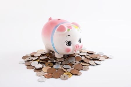 Spaarvarken met munten
