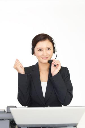 Sonriendo operador de telefonía