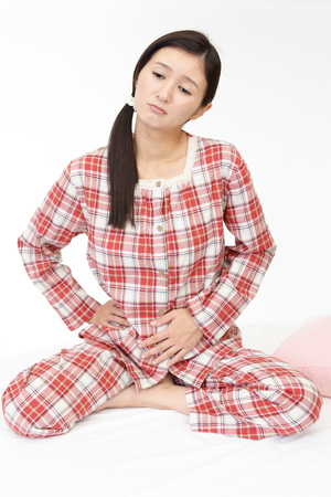 stomachache: Woman who has a stomachache