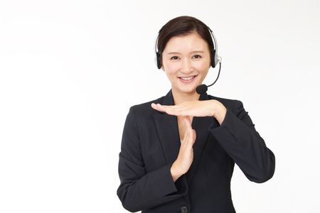 call out: Picture of call center operator gesture time out