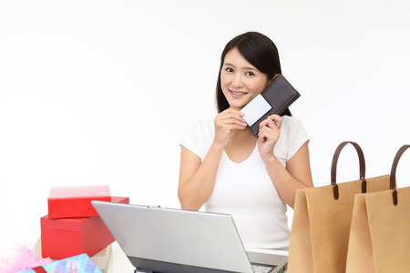 mail order: Woman with purse Stock Photo