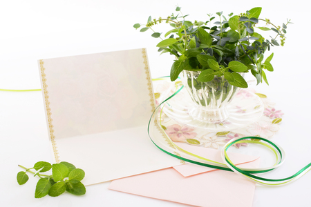 write a letter: Envelope with writing paper Stock Photo