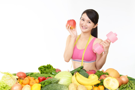 muscular body: Successful woman on diet Stock Photo