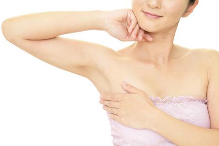 adult armpit: The woman who is doing skin care.