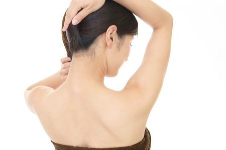 Back view of slim woman