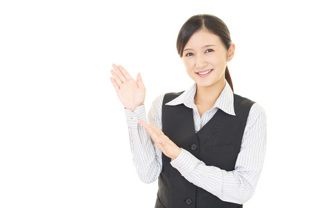 suggestions: Business woman shows the way