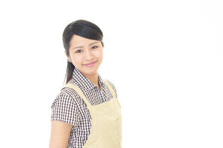 industry background: Smiling housewife