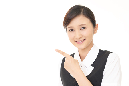 suggestions: Business woman pointing with her finger