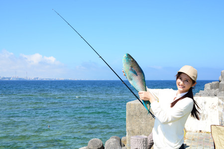 the big fish: Woman with big fish