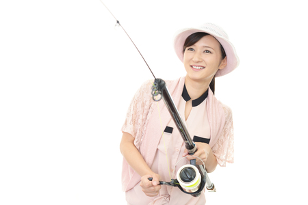 tackle: Woman with fishing tackle